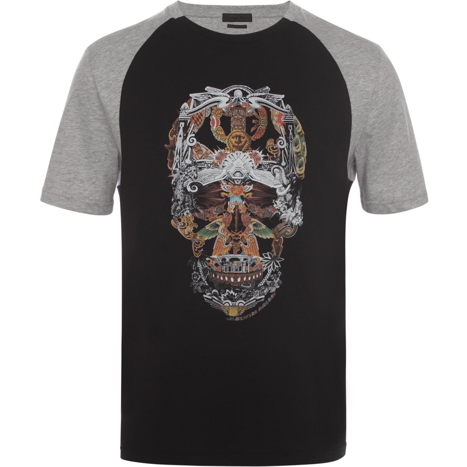 lyst alexander mcqueen raglan skull t shirt in black for men