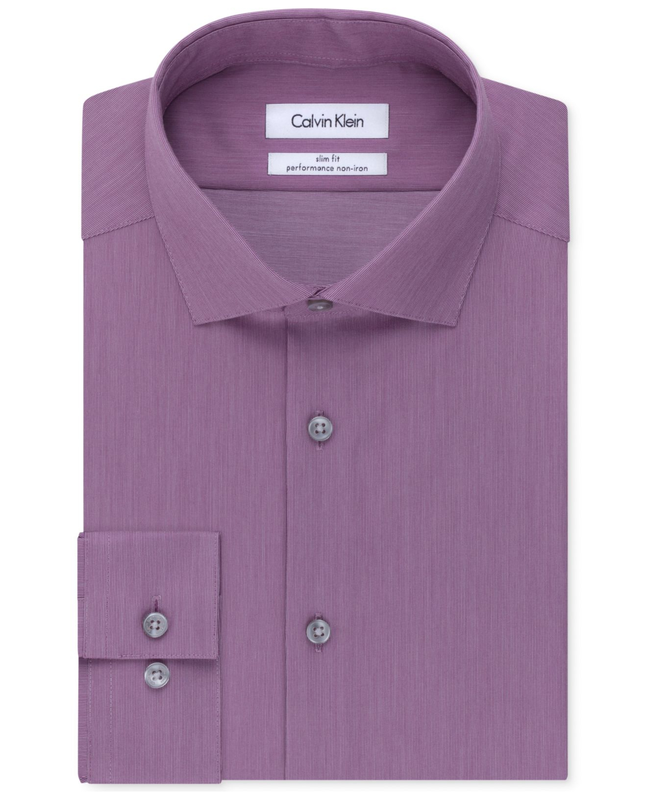 Calvin klein steel non iron slim fit hairline stripe for Slim fit non iron dress shirts