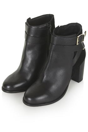 unique design first look uk cheap sale TOPSHOP Black Harper Buckle Ankle Boots