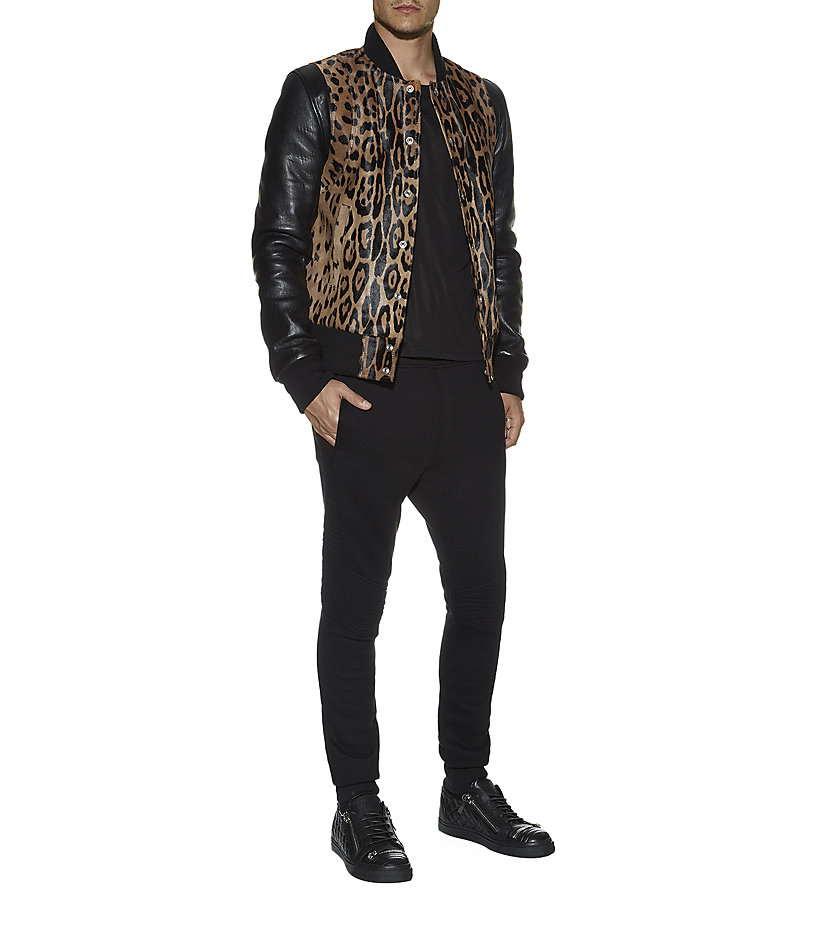 Balmain Leopard Print and Leather Bomber Jacket for Men