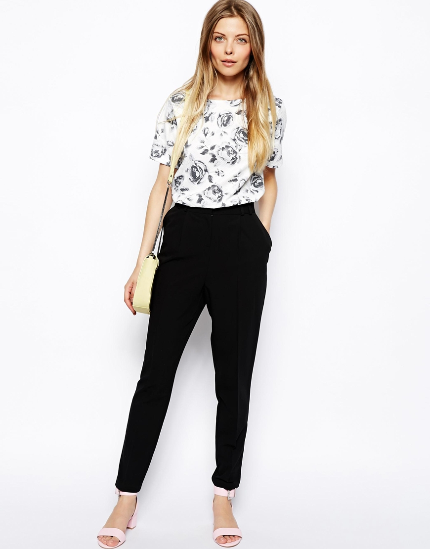 e79f6c09504a ASOS Trousers In High Waist With Straight Leg in Black - Lyst