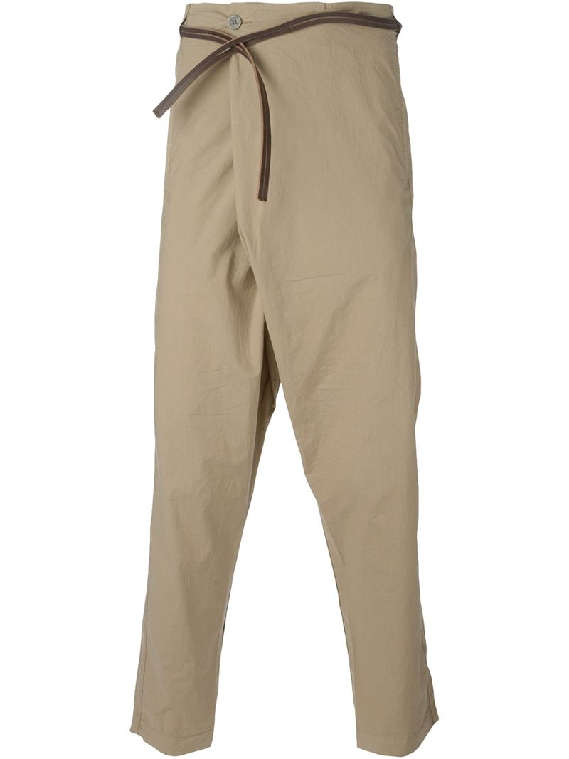 Transit Drop Crotch Trousers in Natural for Men