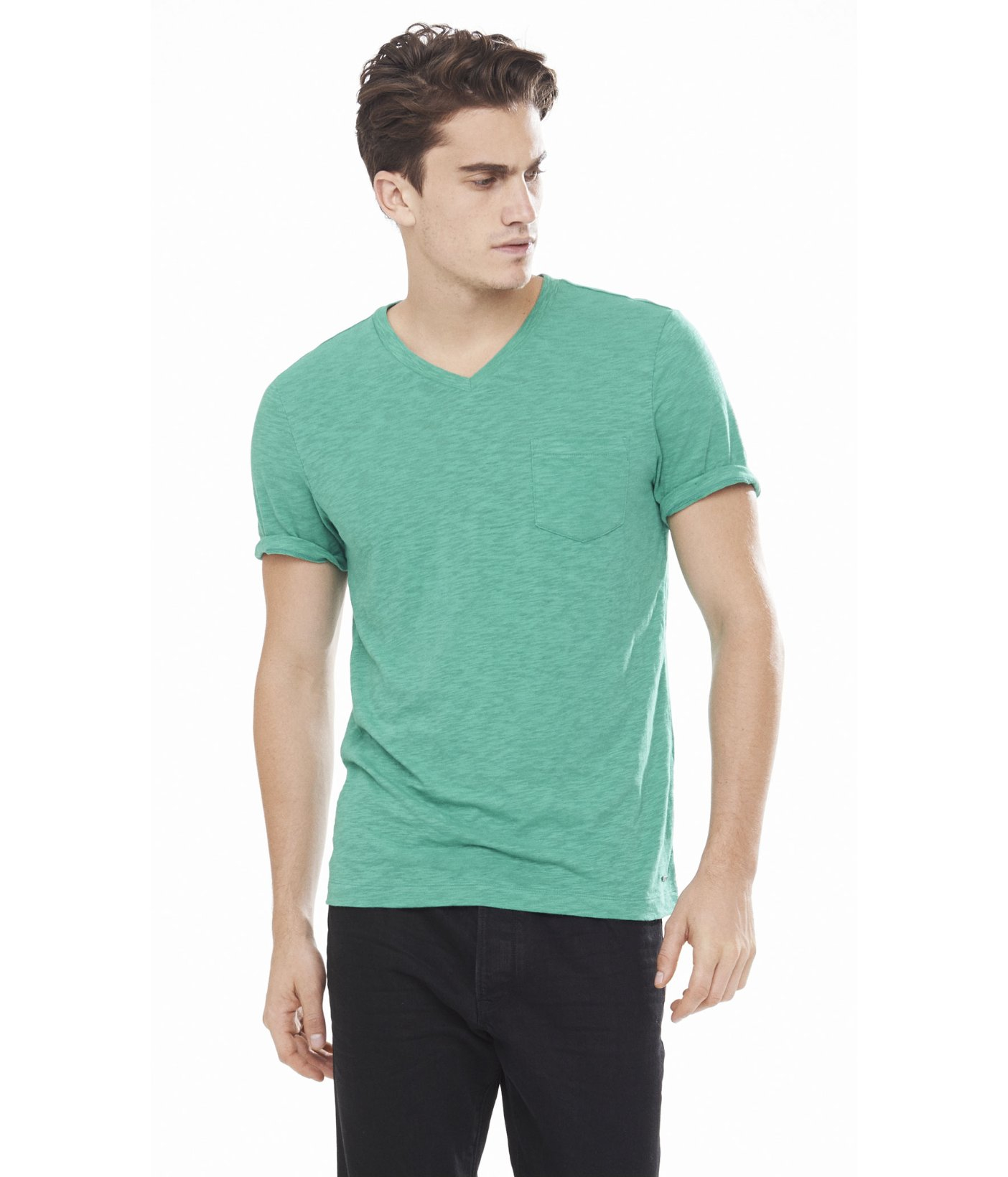 Express twisted slub v neck pocket tee in green for men for Men s v neck pocket tee shirts