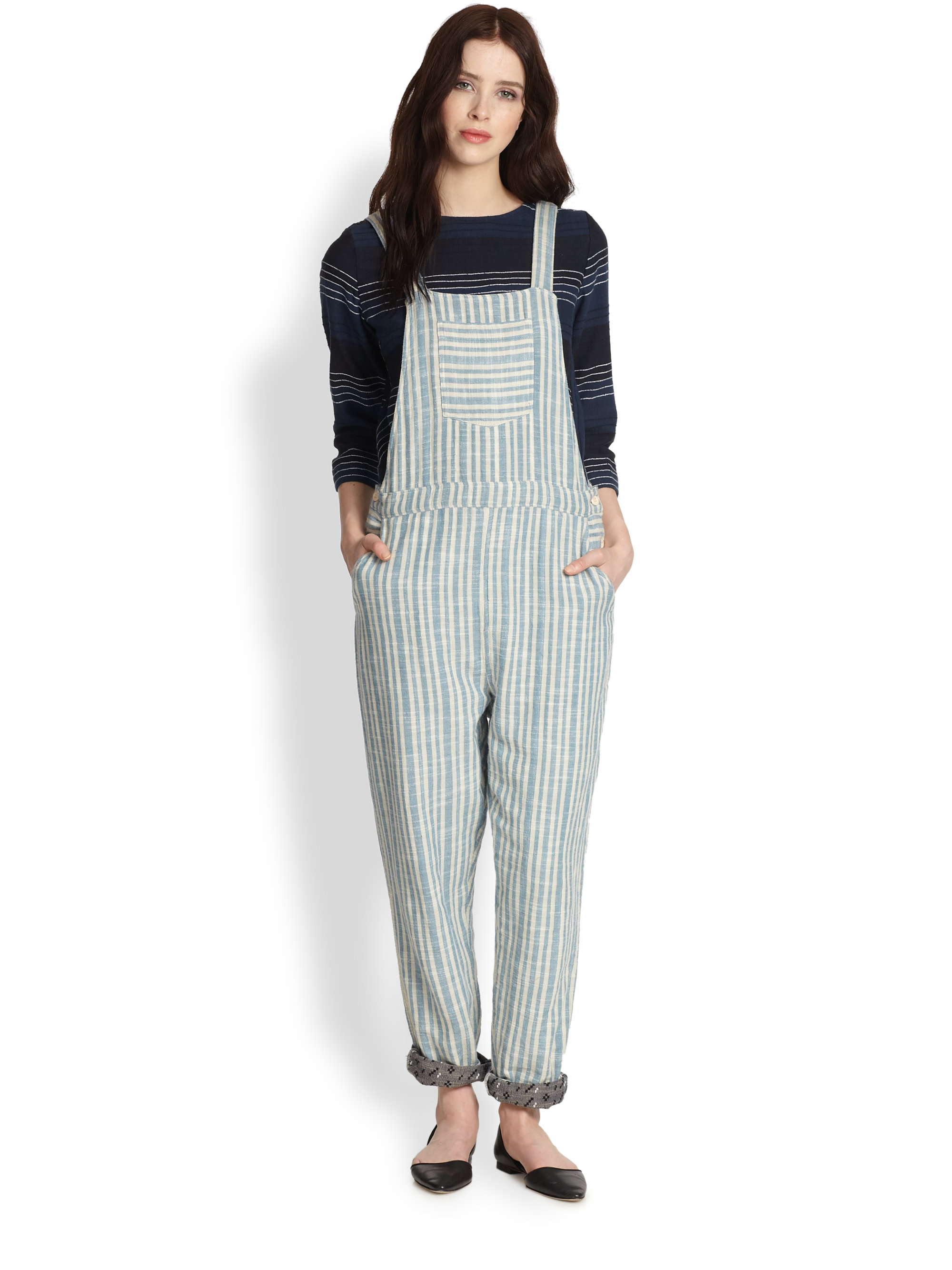 Overalls Are Making A Comeback As The Latest Fashion Trend: Ace & Jig Striped Overalls In Blue