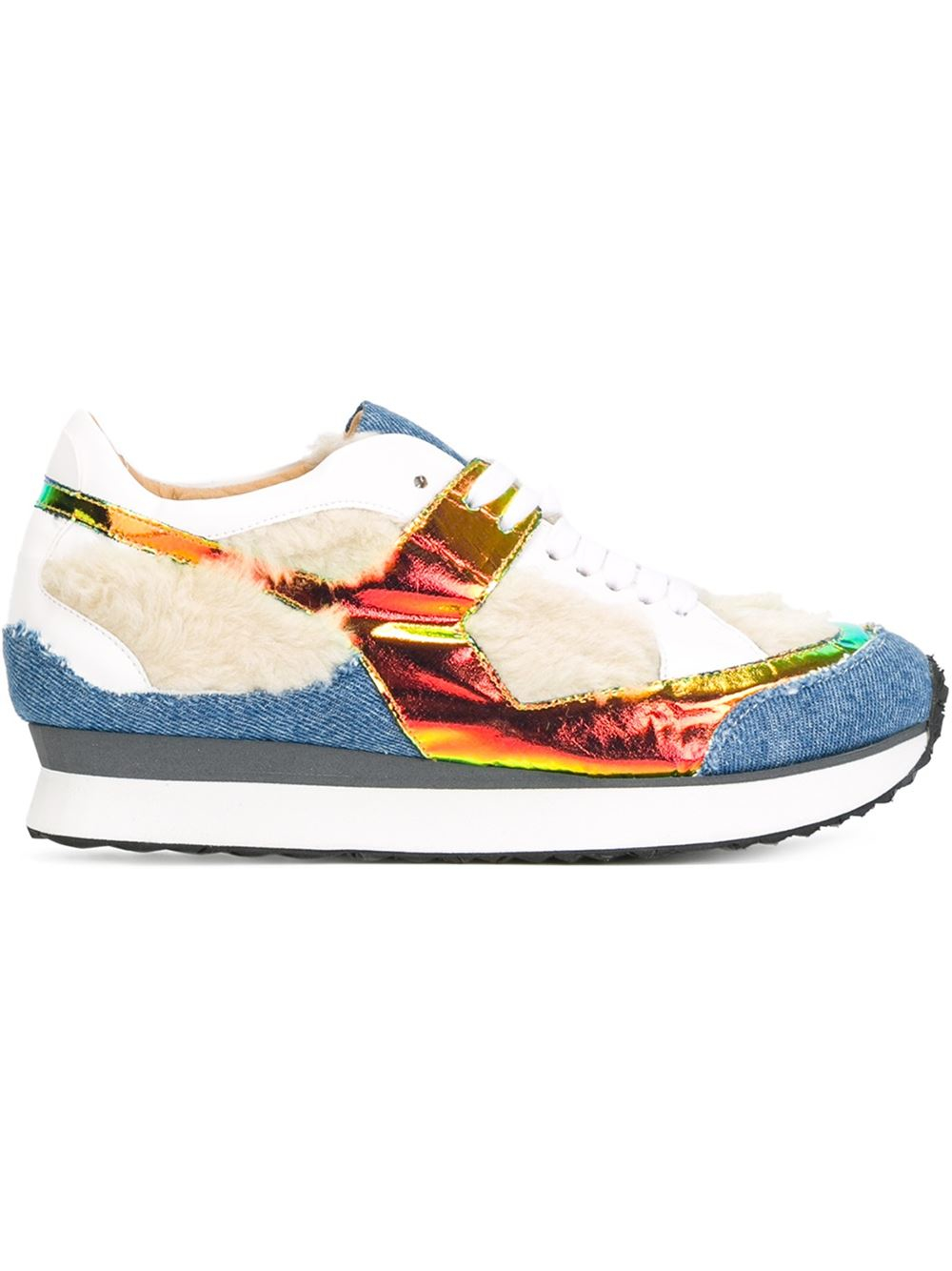 Mm6 by maison martin margiela faux fur and denim low top for Mm6 maison margiela