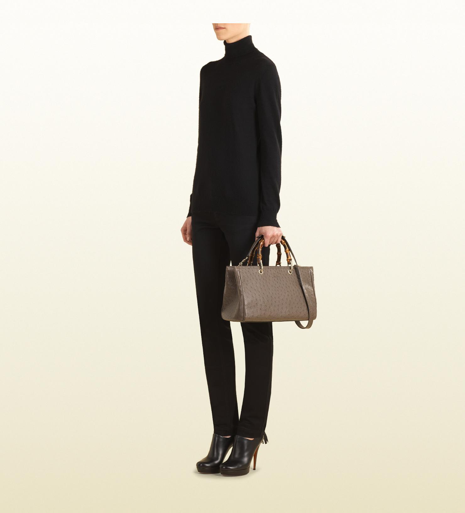 c0723beb1a8a Gucci Bamboo Shopper Ostrich Leather Tote in Brown - Lyst
