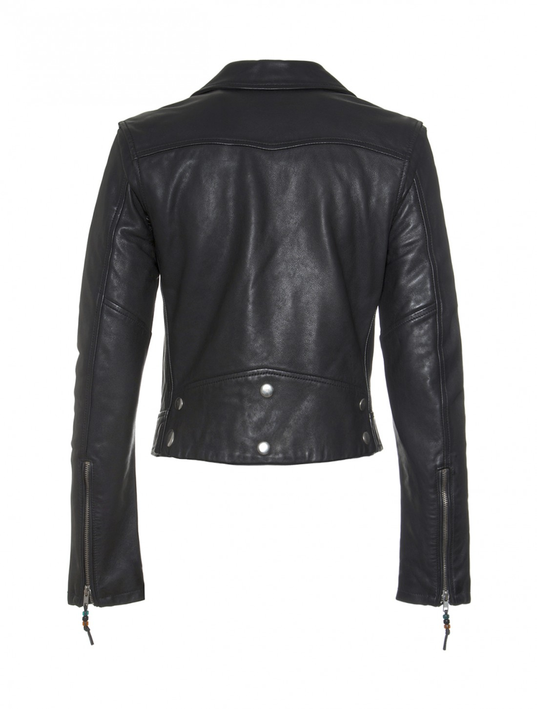 Blk Dnm Long Sleeve Cropped Leather Moto Jacket In Black