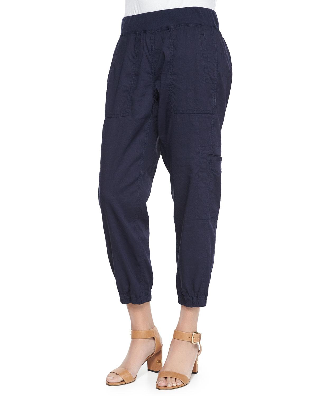 Eileen Fisher Cargo Linen Blend Ankle Pants In Black Lyst
