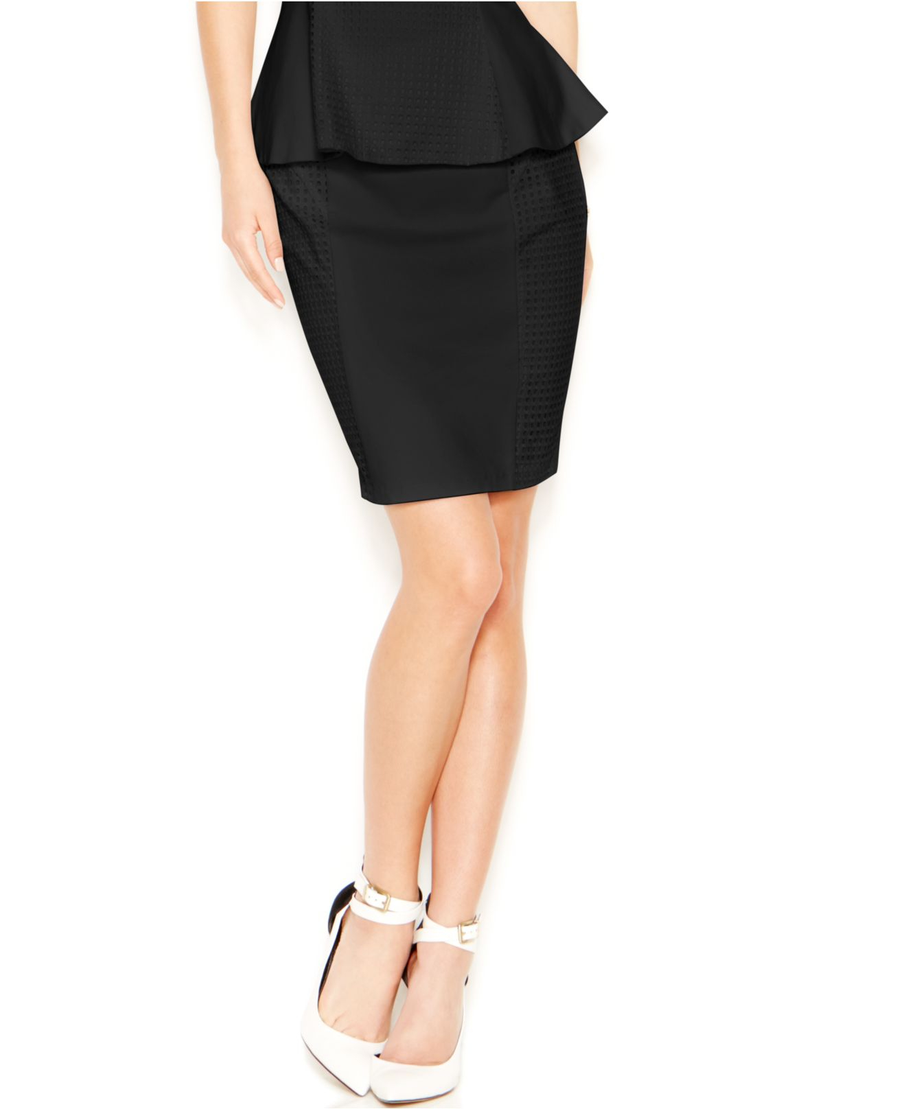 guess eyelet bodycon pencil skirt in black lyst