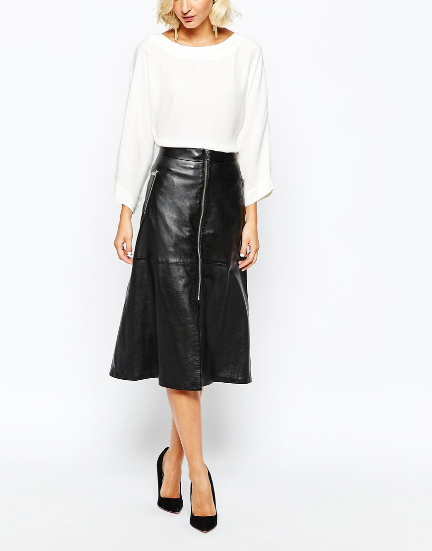 Gestuz Zola A-line Midi Skirt In Leather in Black | Lyst