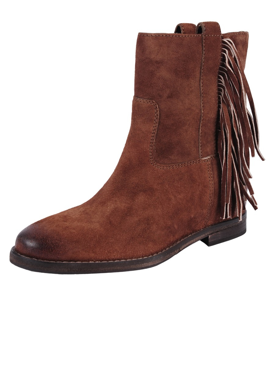 julie suede fringe boot in brown lyst