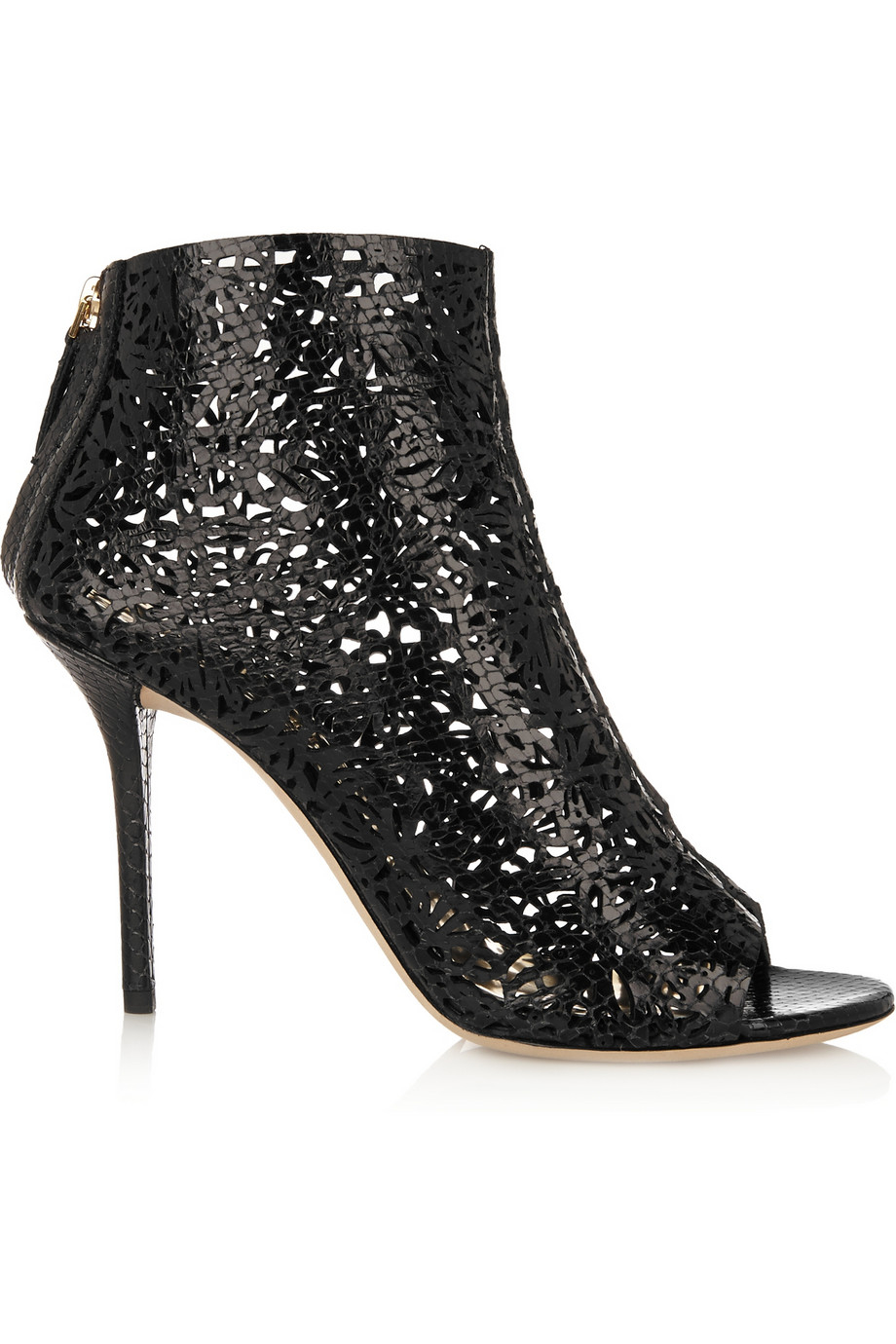 Emilio Pucci Cutout Snake-Effect Leather Ankle Boots in Gold (Metallic)