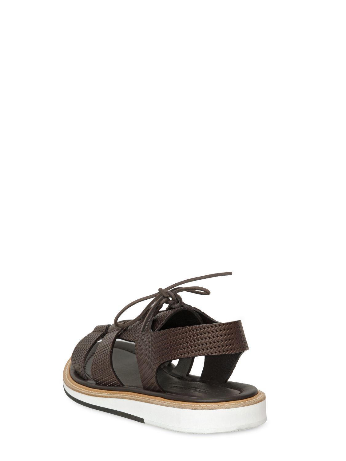 70746c482d3c57 Lyst - Giorgio Armani Woven Leather Lace-up Sandals in Brown for Men
