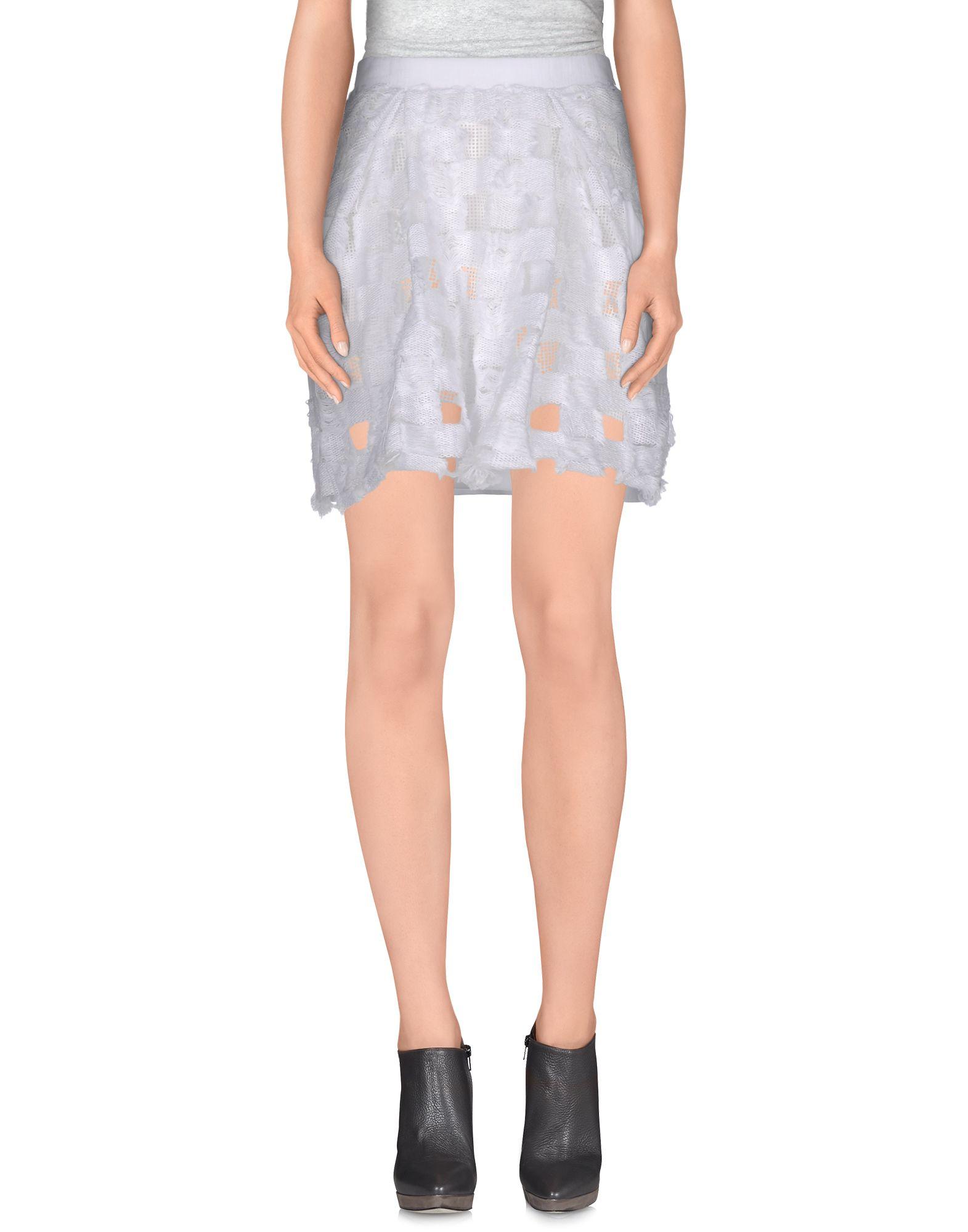 aviu knee length skirt in white lyst