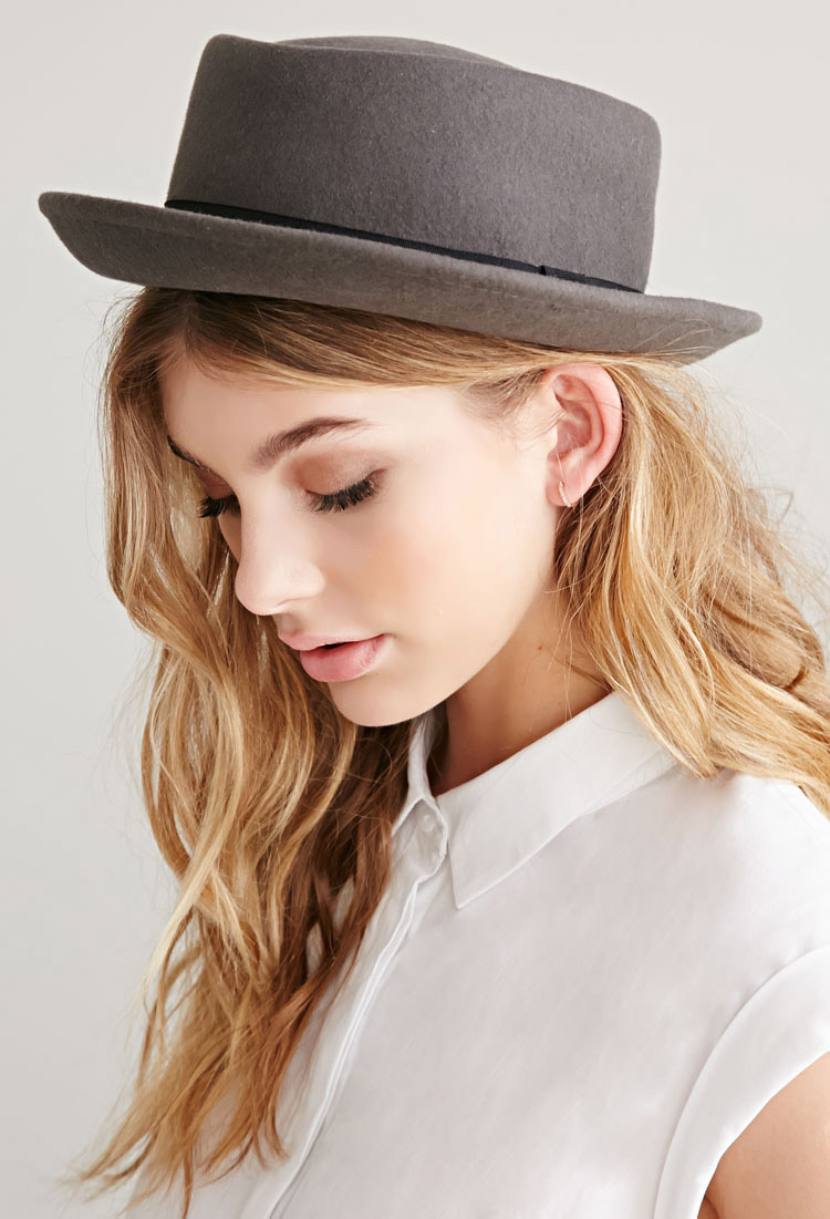 Lyst - Forever 21 Wool Pork Pie Hat in Gray f2a423f1aec