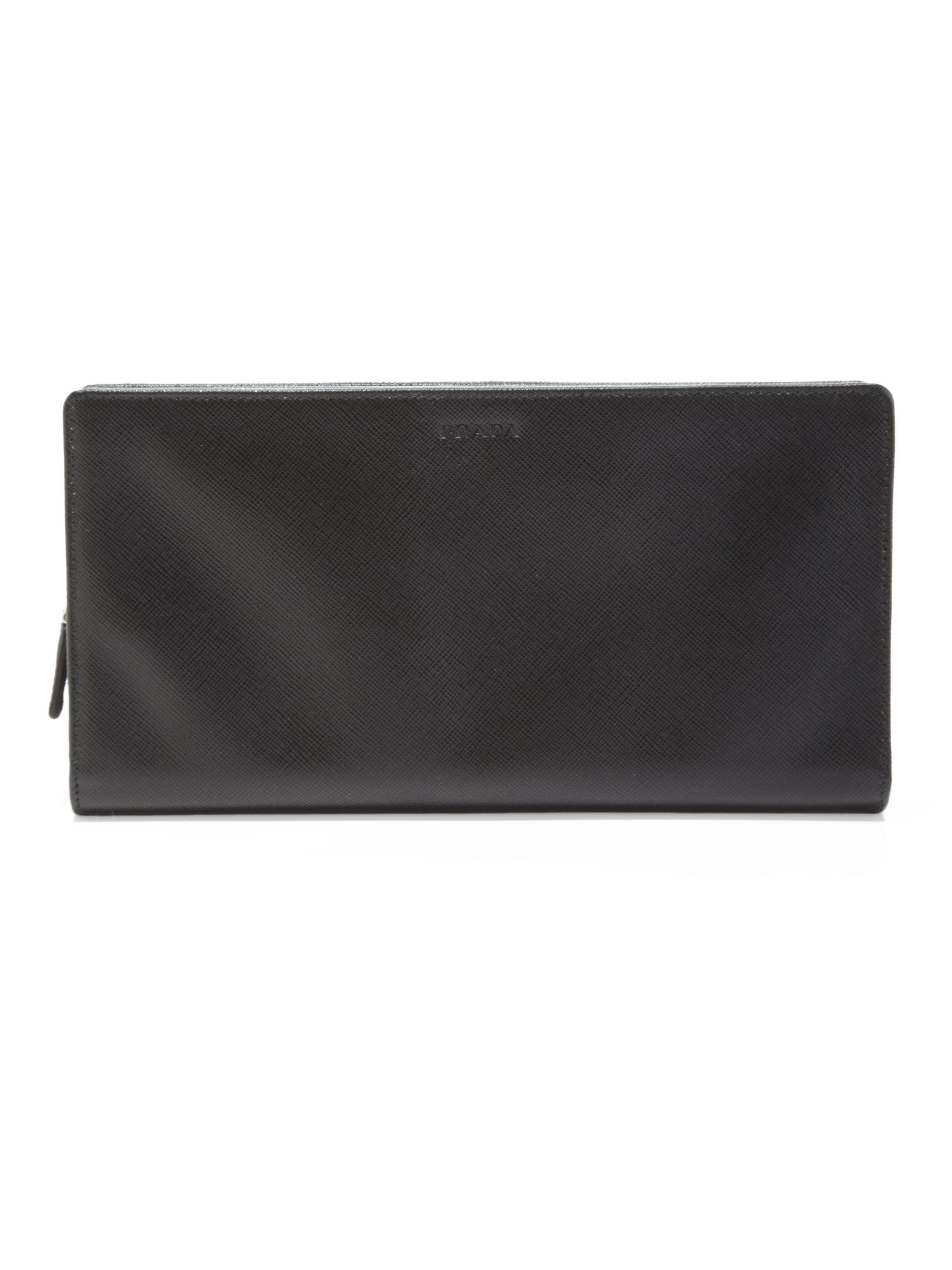 Prada Saffiano Travel Wallet in Black for Men | Lyst