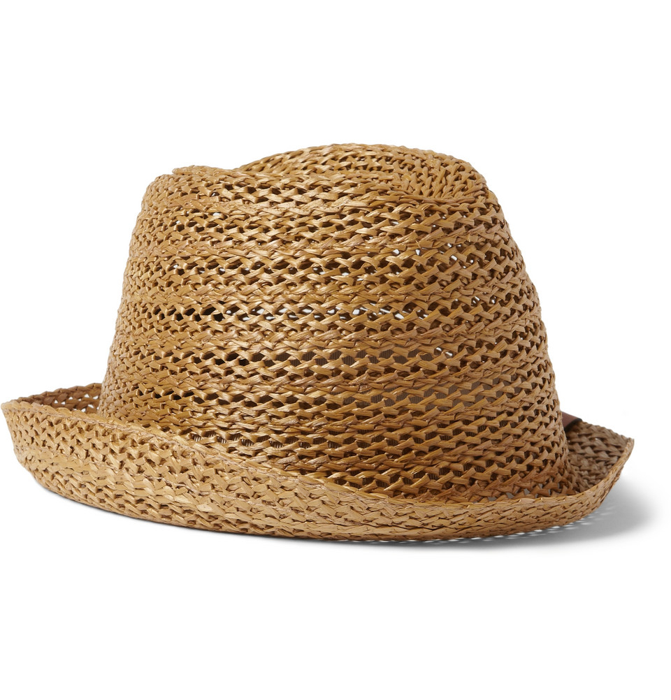Gucci Hats For Men: Gucci Wovenstraw Trilby Hat In Natural For Men