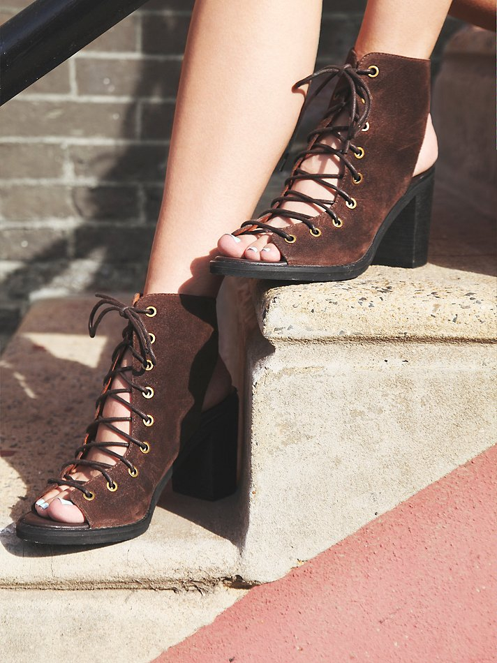 Free people Minimal Lace Up Heel in Brown | Lyst