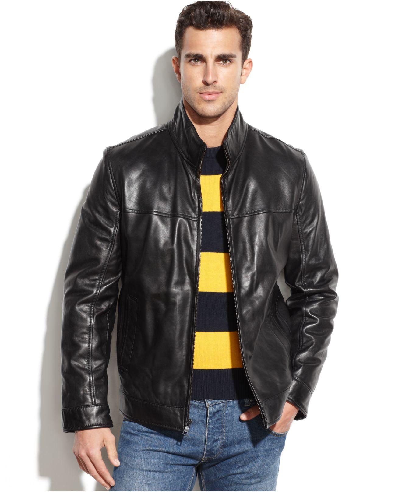 tommy hilfiger smooth leather jacket in black for men lyst. Black Bedroom Furniture Sets. Home Design Ideas
