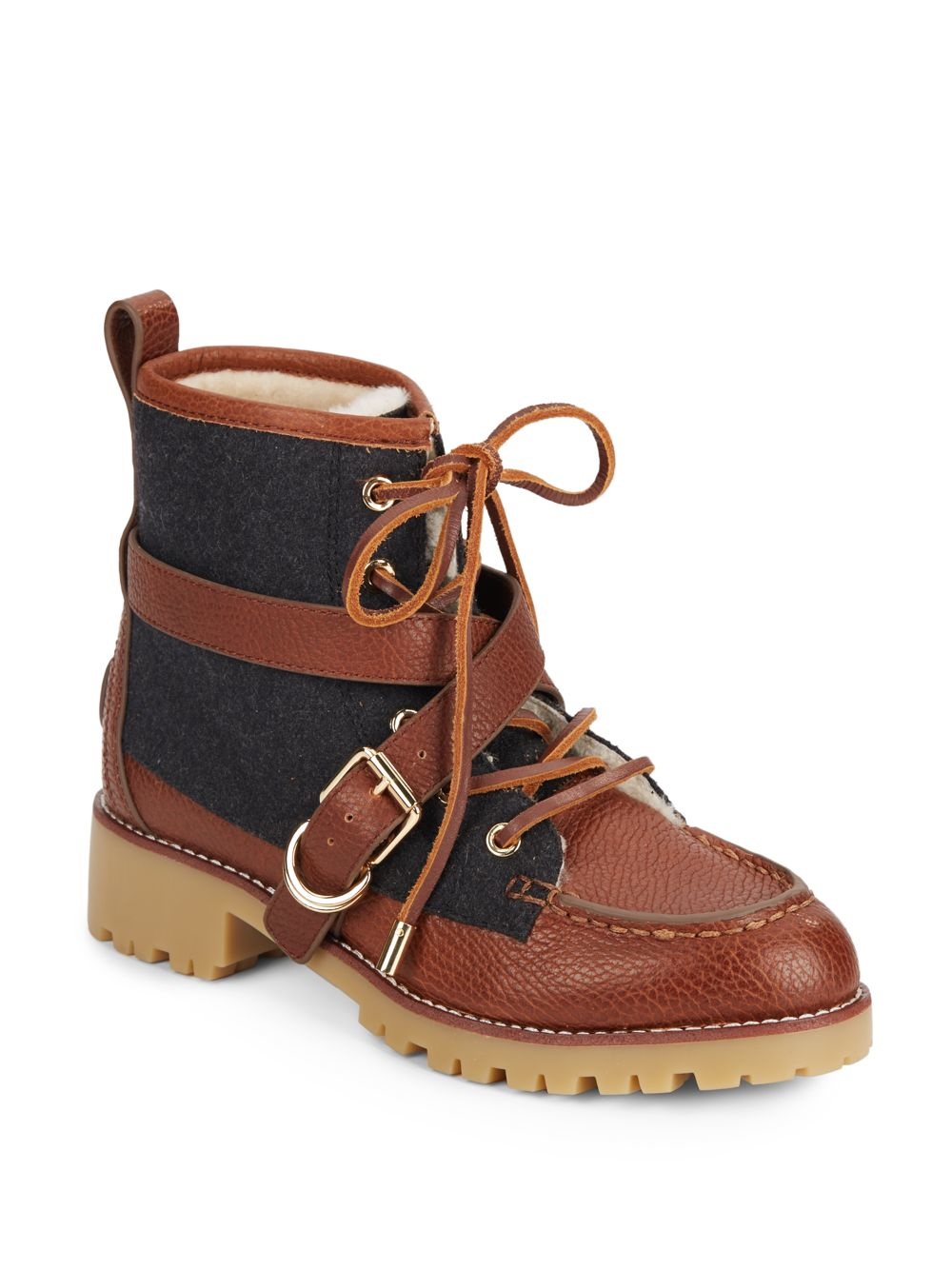 7935bdefe543 Lyst - Tory Burch Samson Mixed-media Ankle Boots in Brown