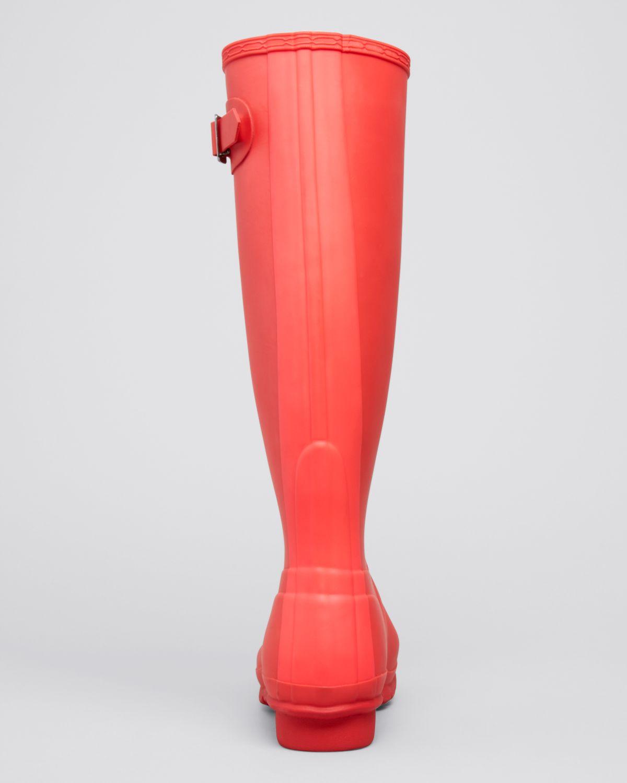 HUNTER Rain Boots - Original Stripe in Bright Coral (Pink ...