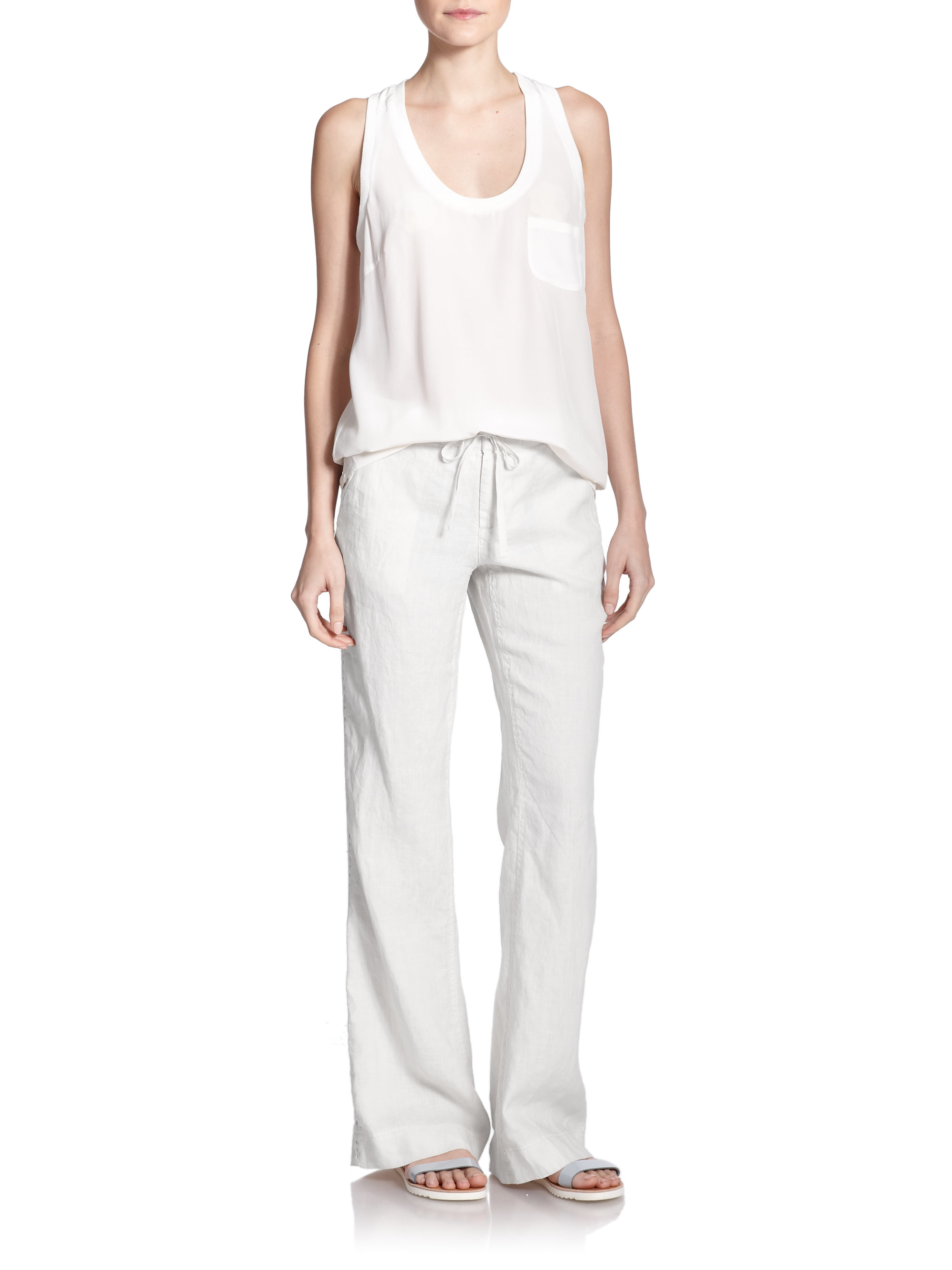 Joie Katriane Wide-leg Linen Pants in White | Lyst