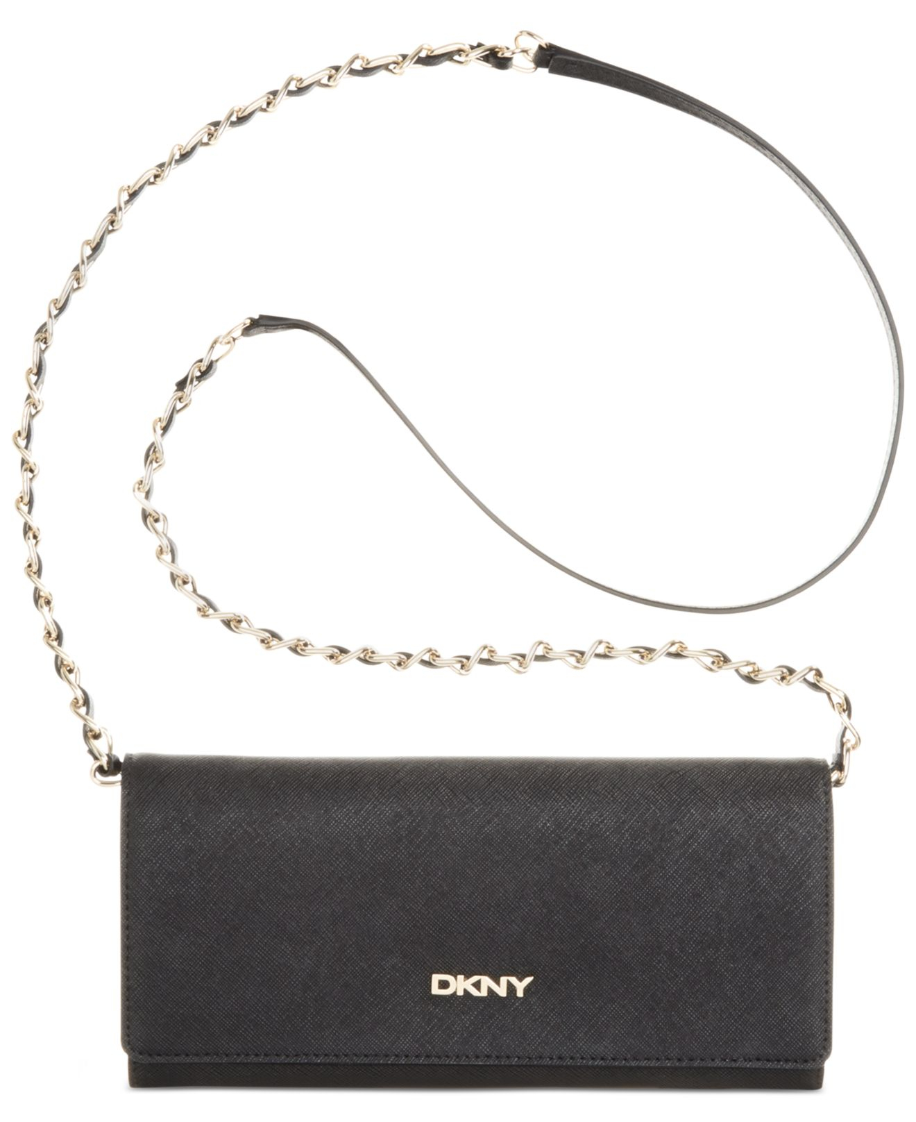 603bd976bae046 DKNY Bryant Park Saffiano Leather Wallet Clutch With Chain Handle in ...