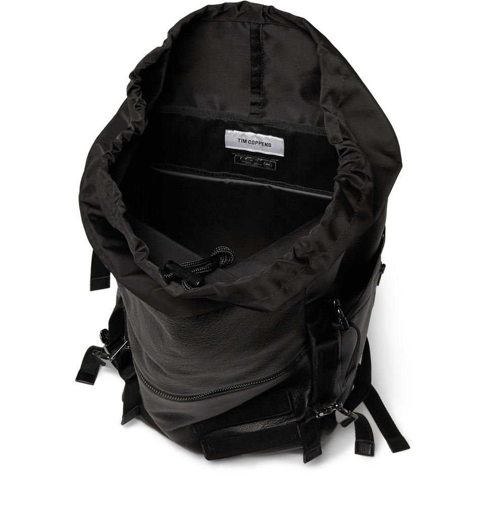 Tim Coppens Leather And Nylon Backpack in Black for Men