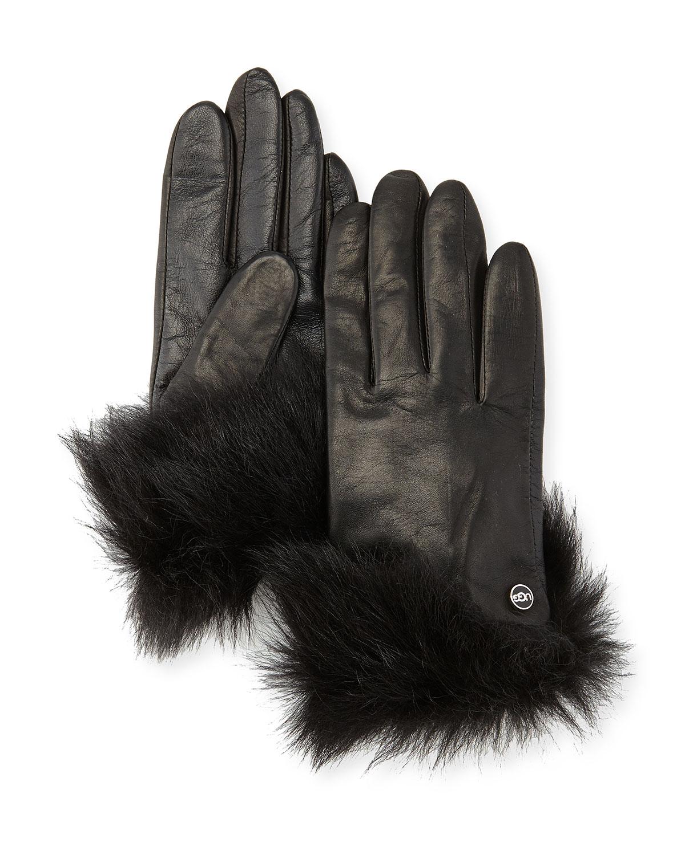 Womens black leather gloves australia - Uggs Gloves