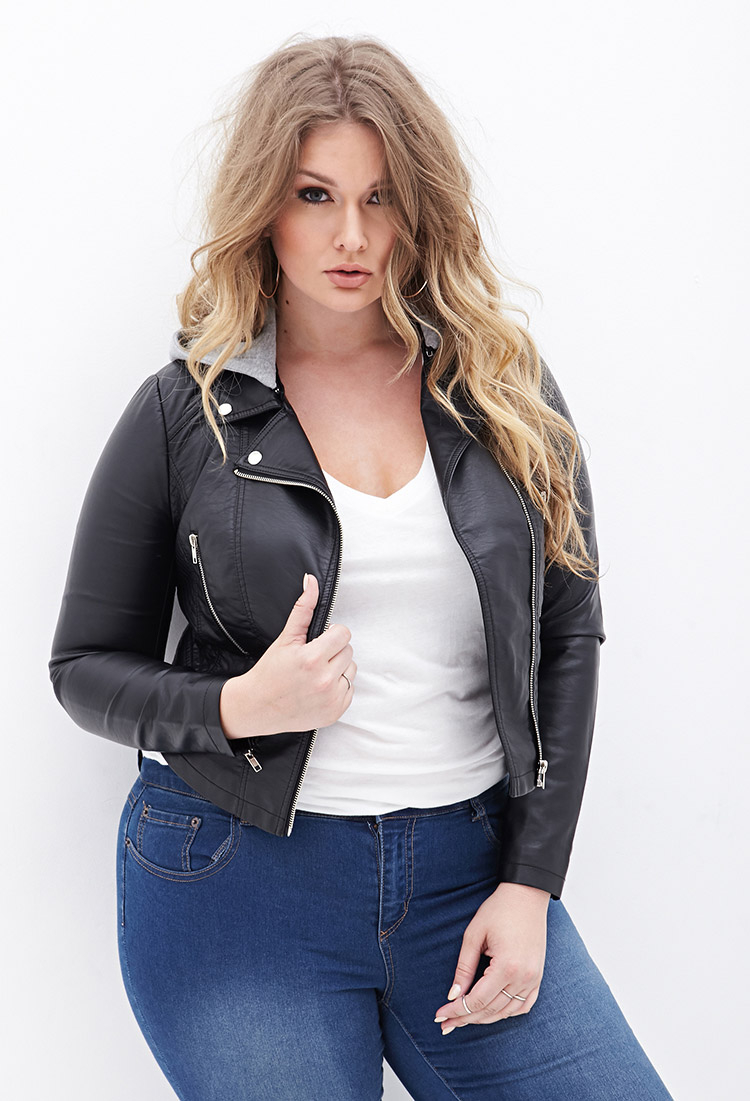 Lyst Forever 21 Plus Size Hooded Bomber Jacket In Black