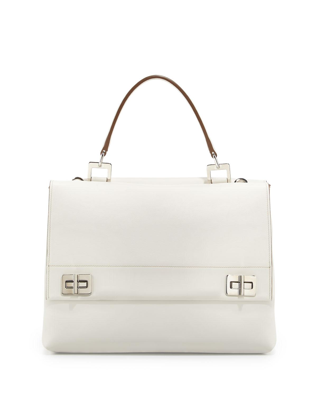 c2ee37e4fa ... good lyst prada lux calf double flap satchel bag in white 3483e 32eb0