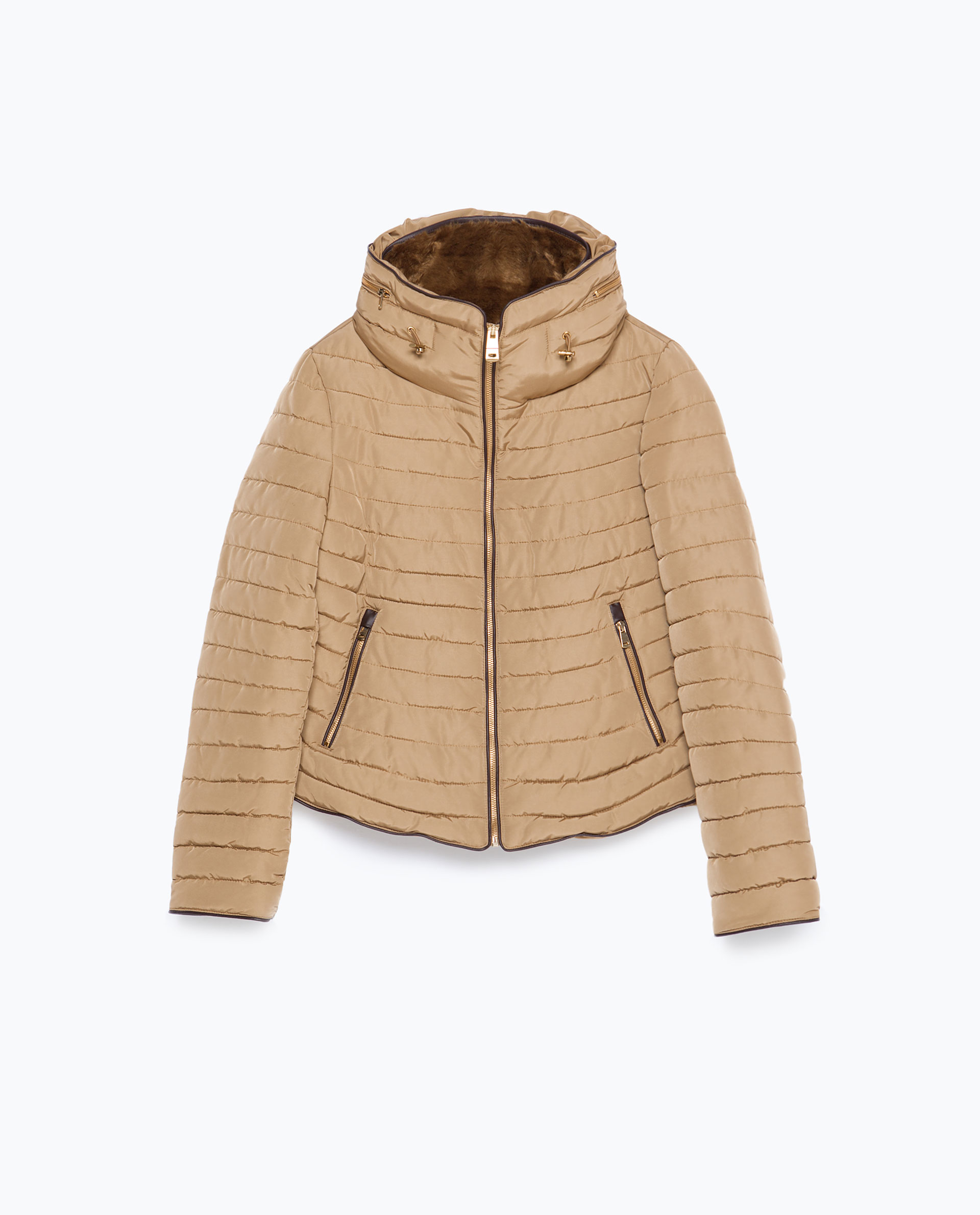Zara Faux Fur Quilted Coat In Natural Lyst