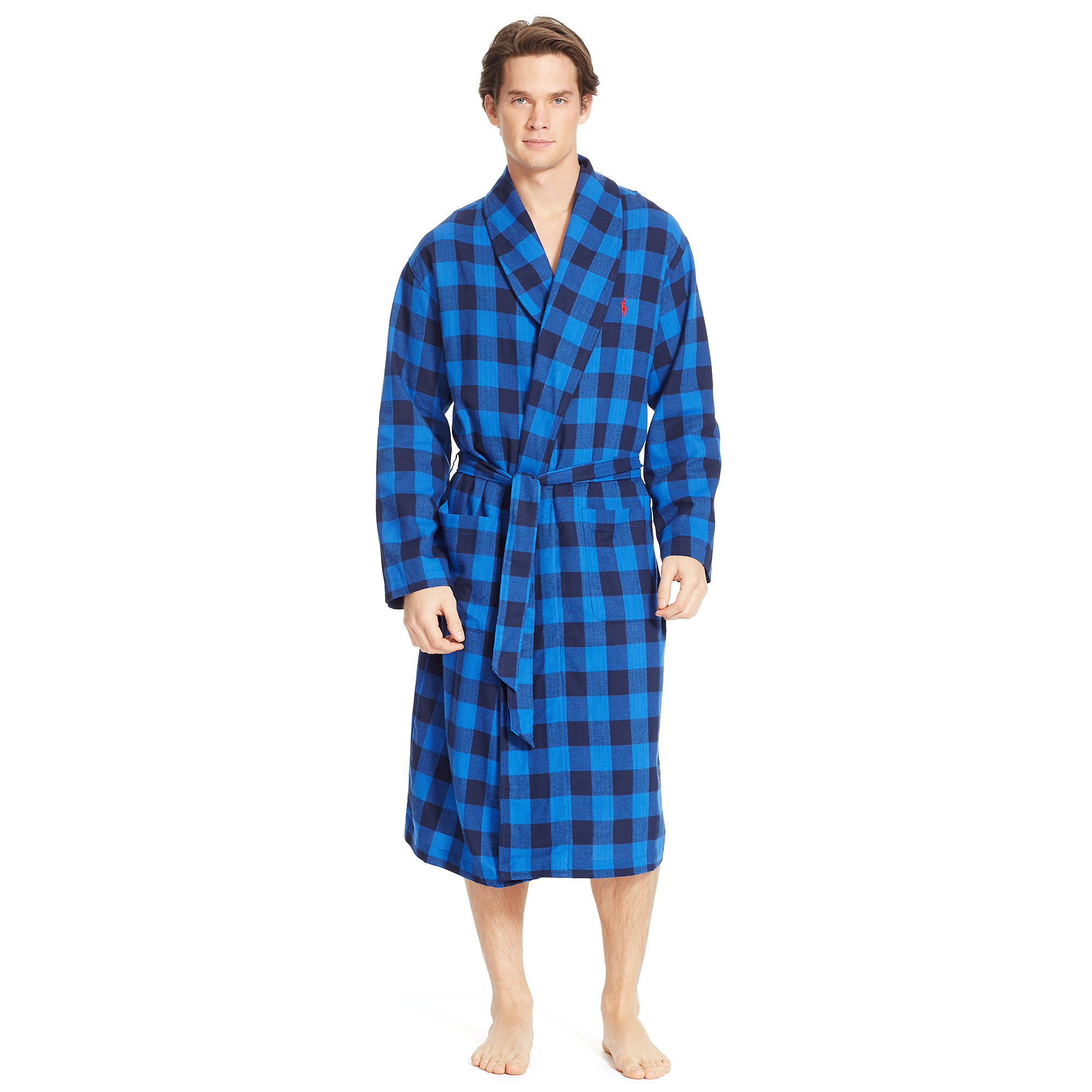 Lyst - Polo Ralph Lauren Dartmouth Plaid Flannel Robe in Red for Men