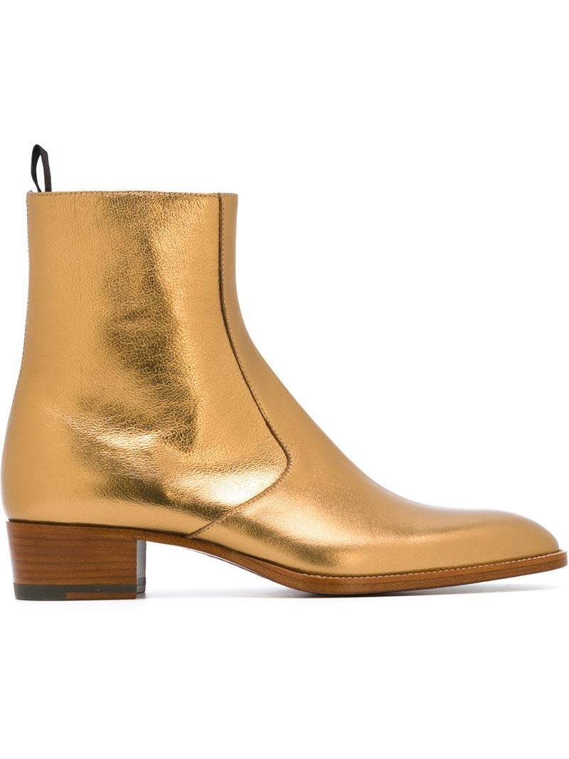 005a3d2cac5 Saint Laurent Metallic Signature Hedi Leather Ankle Boots