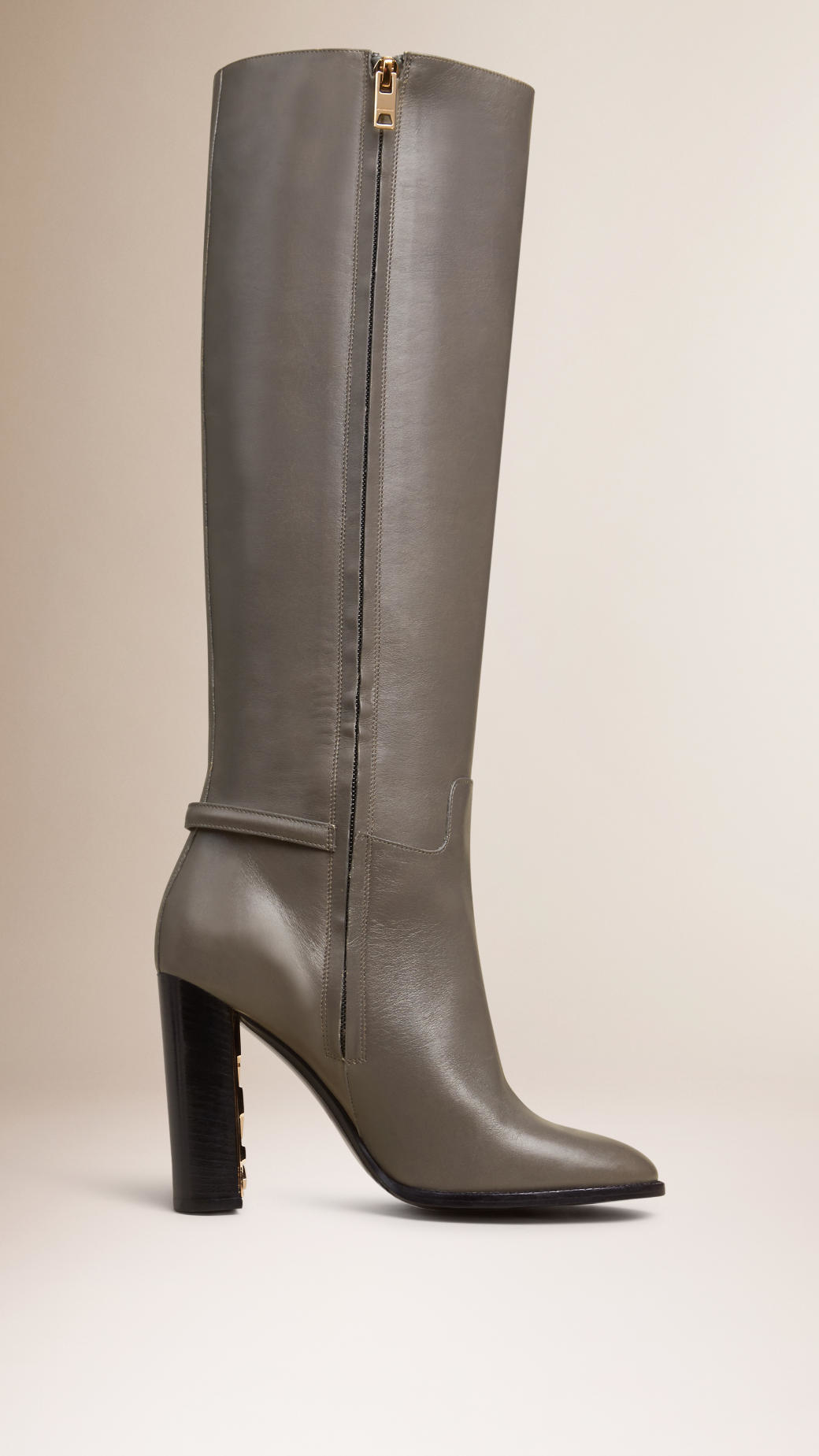 burberry kneehigh leather boots in gray lyst