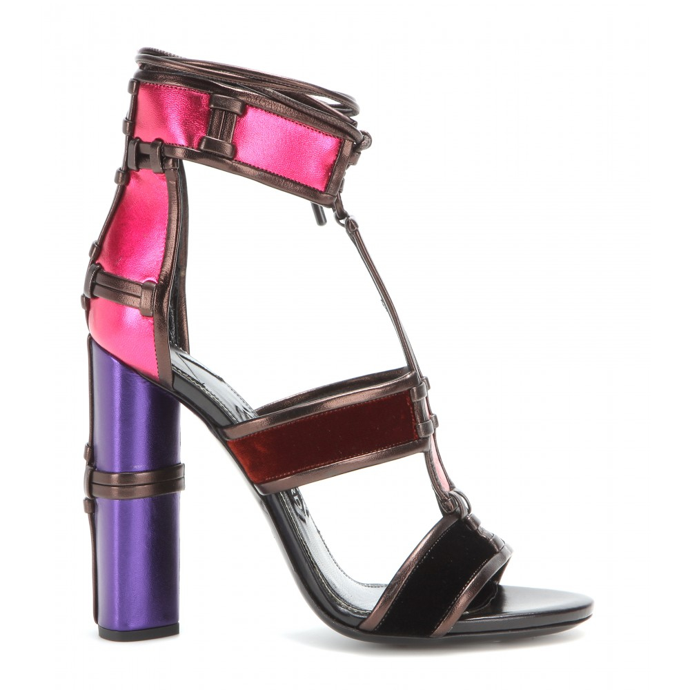 d22c311e611fe Tom Ford Patchwork Metallic Leather and Velvet Sandals in Blue - Lyst