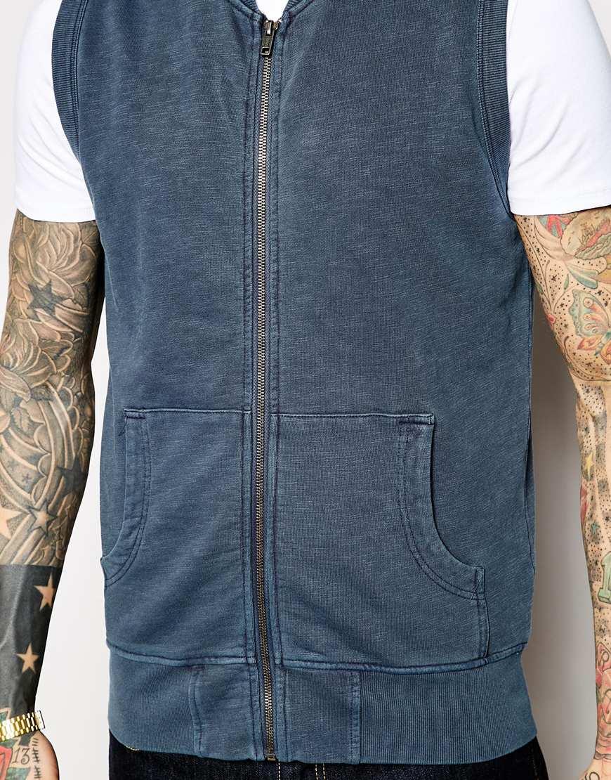 Ymc Zip Sweater Vest in Blue for Men | Lyst