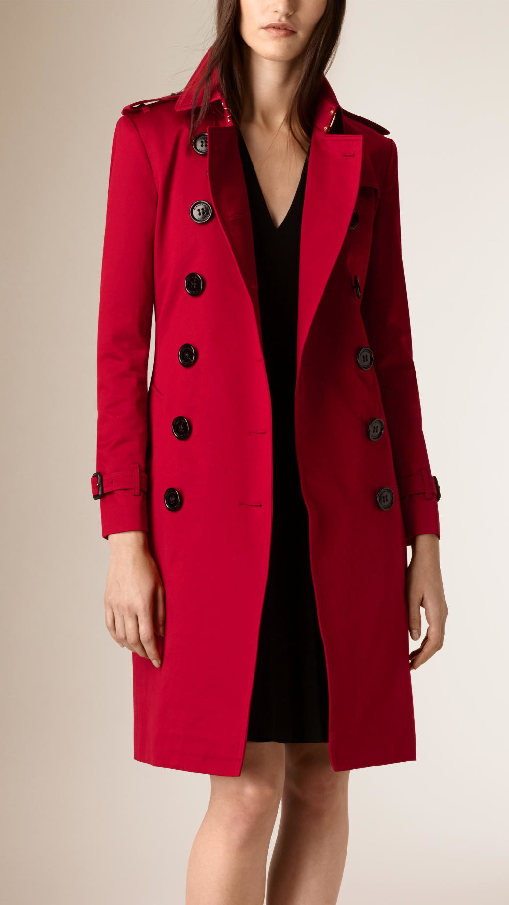 Burberry Pleated Skirt Cotton Sateen Trench Coat in Red | Lyst