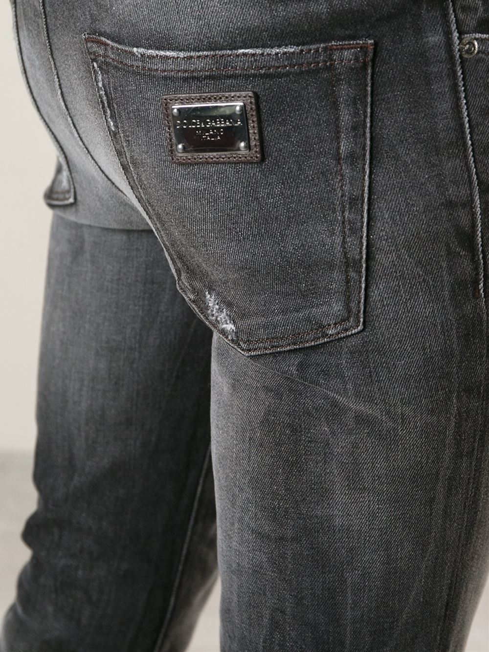 18a3913cfd Lyst - Dolce   Gabbana Distressed Skinny Jeans in Gray for Men