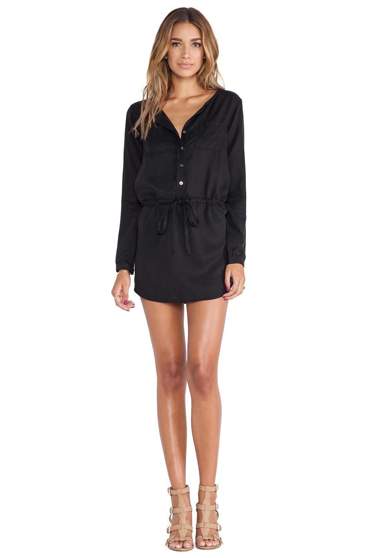 Michael stars Button Down Shirt Dress in Black | Lyst