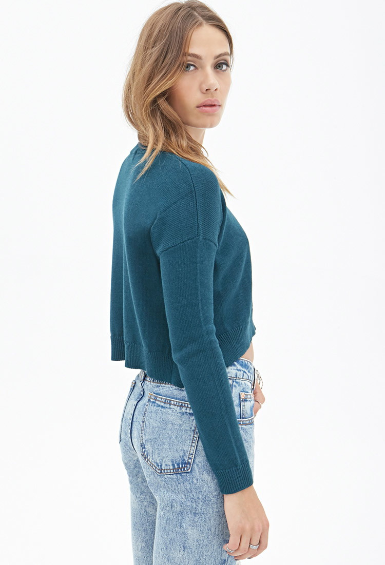 Forever 21 Cropped Sweater in Blue | Lyst