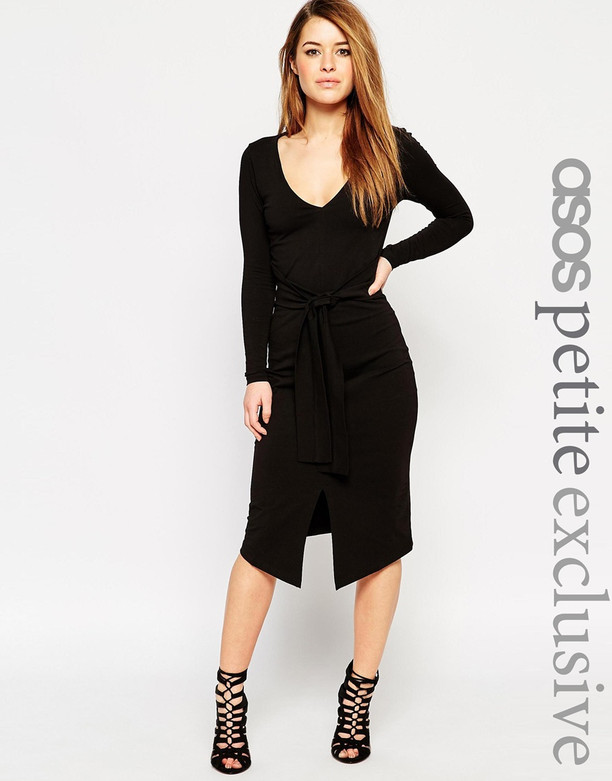 Asos Petite Long Sleeve Midi Bodycon Dress With Tie Waist in Black ...
