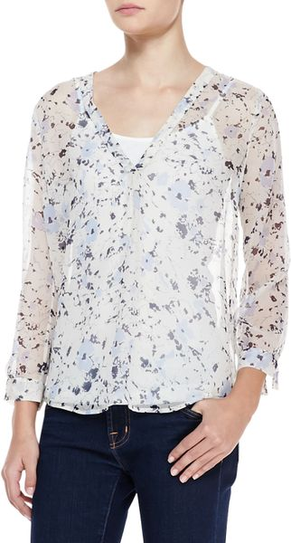Joie Lerona Sheer Floralprint Blouse in Blue (DARK NAVY)