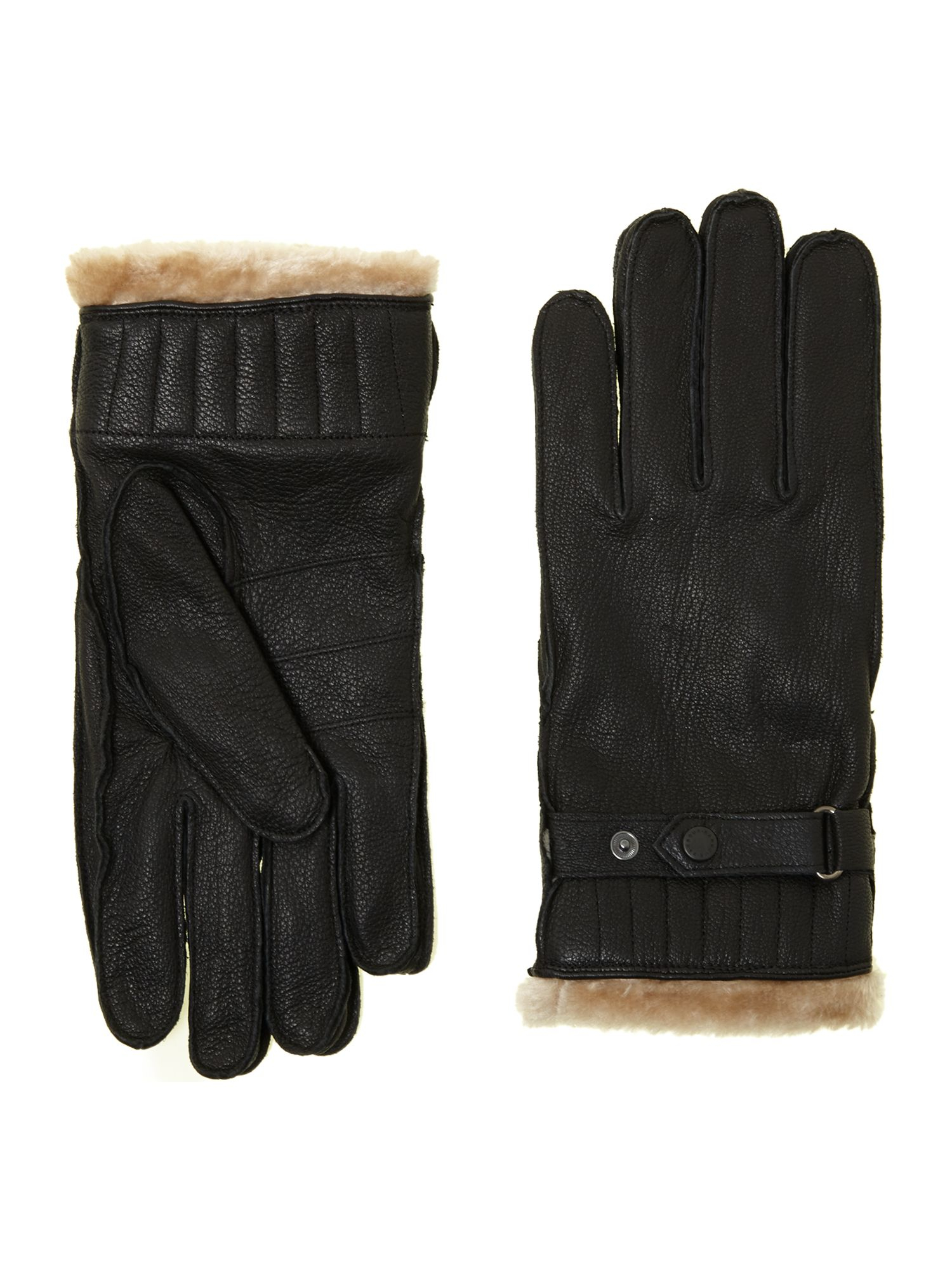 Barbour black leather utility gloves - Gallery