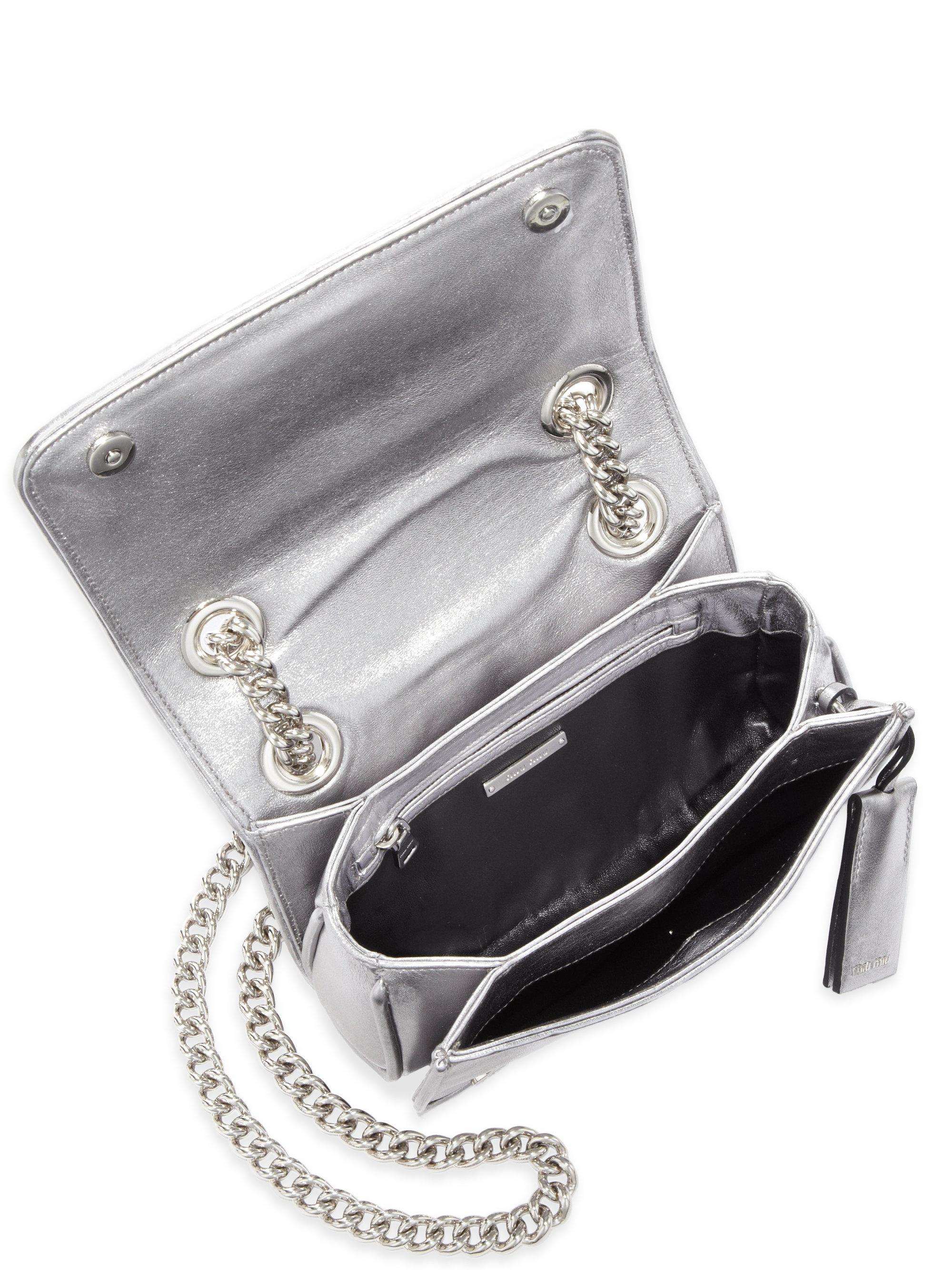 textured leather cross body bag - Metallic Miu Miu VP32QADRIS