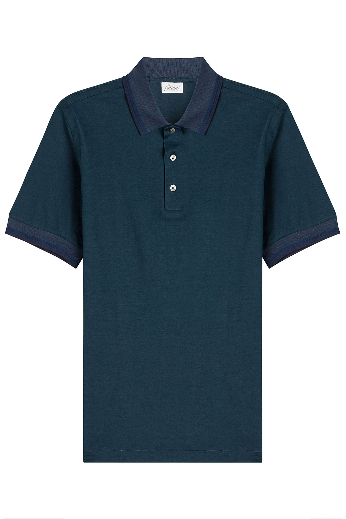 Lyst Brioni Cotton Polo Shirt Green In Blue For Men