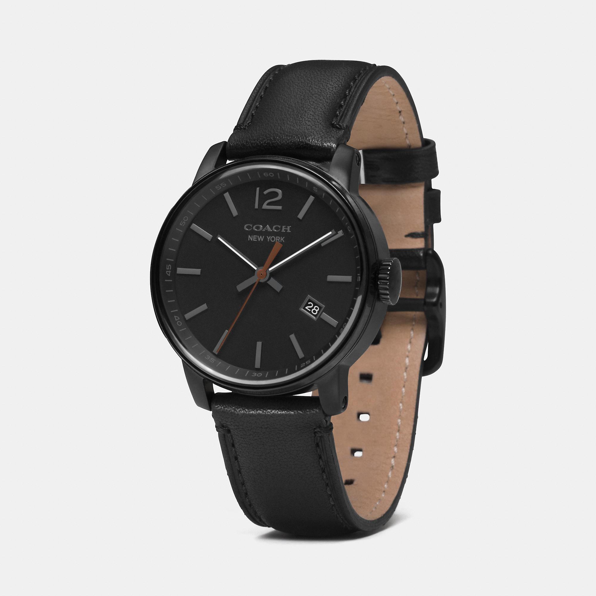 e37228665c735 COACH Black Bleecker Ionized Plating Three Hand Strap Watch for men