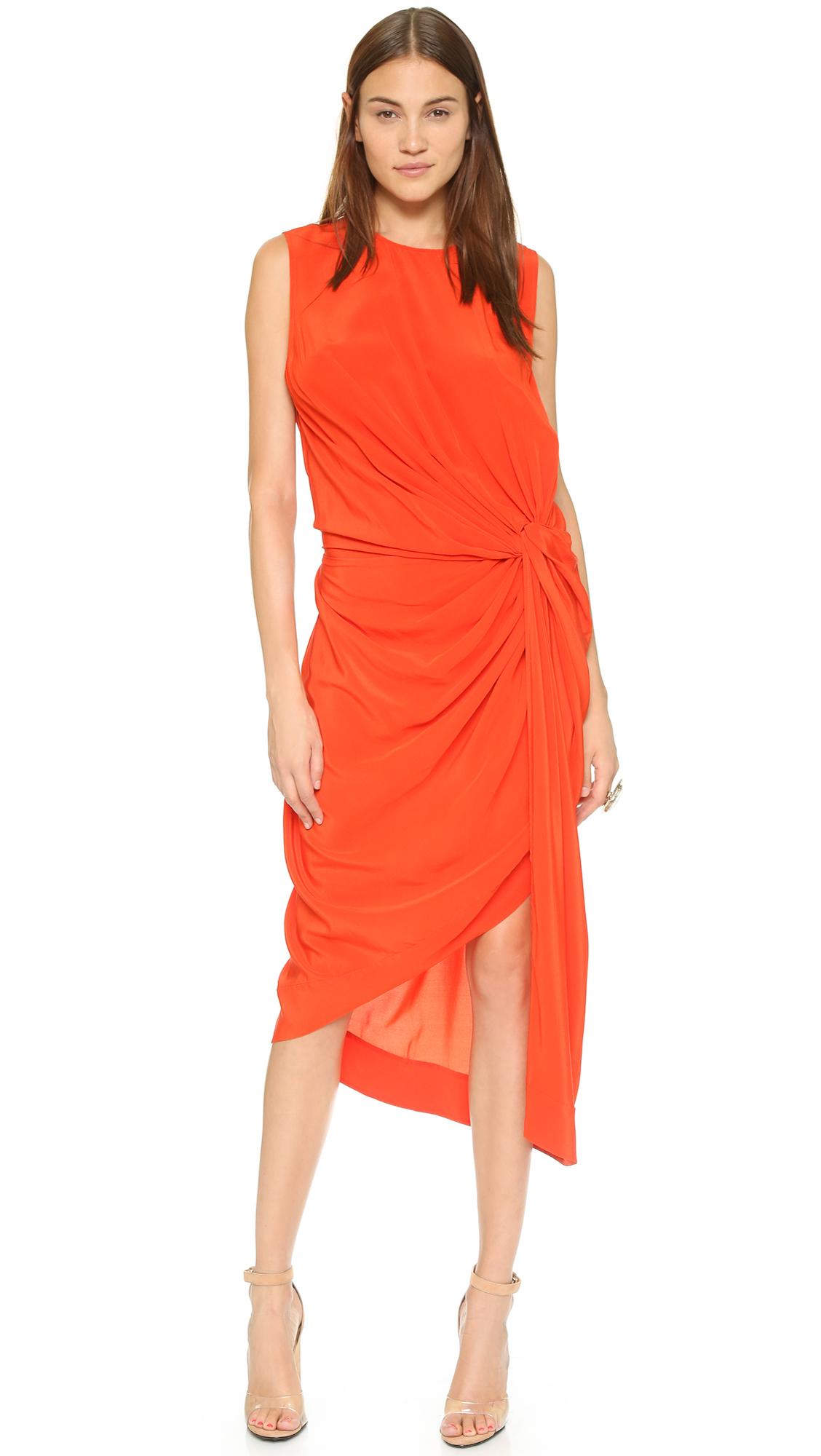 Lyst Zimmermann Silk Twist Drape Dress In Red