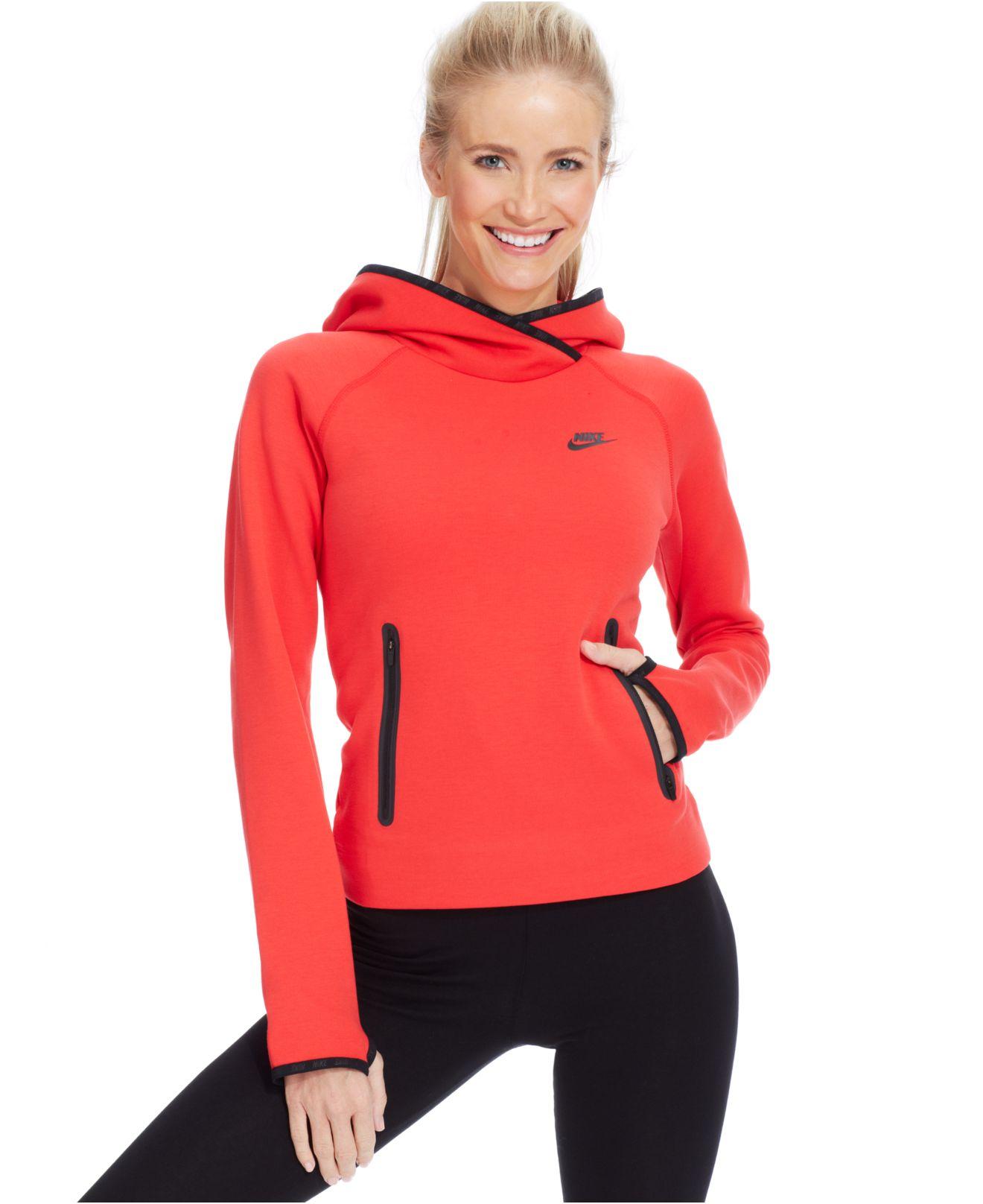 Lyst - Nike Tech Fleece Pullover Hoodie in Red 04309f9a6
