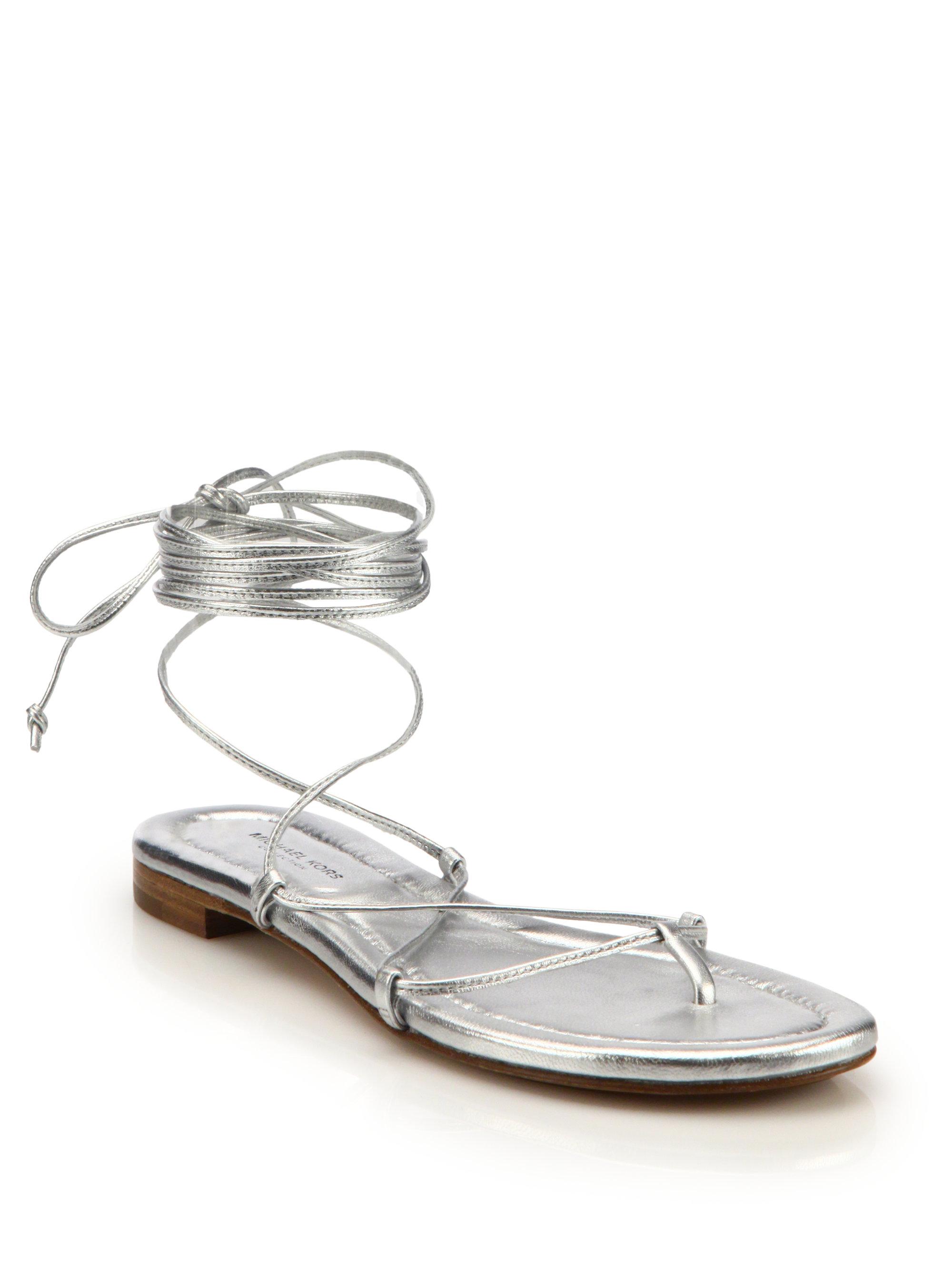6197d41e9c52 Lyst - Michael Kors Bradshaw Metallic Leather Lace-up Sandals in ...